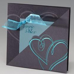 Faire part mariage élégant irisé gris coeur ruban turquoise BELARTO Celebrate Love 723042-W