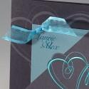 Faire part mariage élégant irisé gris coeur ruban turquoise BELARTO Celebrate Love 723042