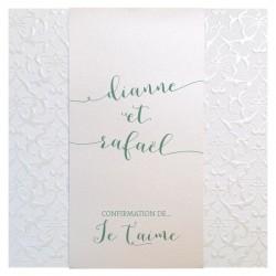 Faire-part mariage élégant crème arabesques florales nacrées BELARTO Celebrate Love 729201-W