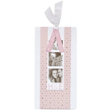 Faire-part mariage original blanc rose motifs dorés BELARTO Celebrate Love 729203