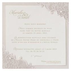 Faire-part mariage élégant chic crème fleurs suédine perle BELARTO Celebrate Love 725048-W