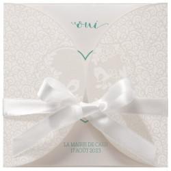 Faire-part mariage classique crème couverture irisée oiseaux blancs BELARTO Celebrate Love 729209-W