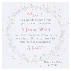 Carte lunch ou remerciements classique blanche couronne coeurs roses BELARTO Celebrate Love 7295010