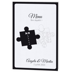 Menu mariage original noir blanc puzzle Belarto Celebrate Love 725673