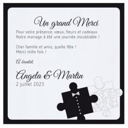 Carte lunch ou remerciements originale puzzle costume robe BELARTO Celebrate Love 725573