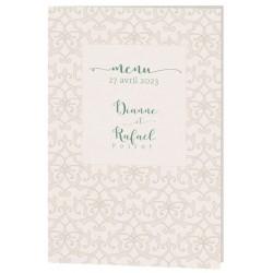 Menu mariage chic crème motif arabesques Belarto Celebrate Love 7296001