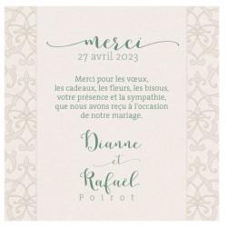 Carte lunch ou remerciements chic crème irisé arabesques BELARTO Celebrate Love 7295001