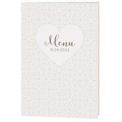 Menu mariage classique crème arabesques coeurs Belarto Celebrate Love 7296000