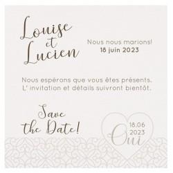 Carte lunch ou remerciements classique crème arabesques coeurs BELARTO Celebrate Love 7295000