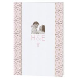 Menu mariage moderne blanc frise géométrique rose marron Belarto Celebrate Love 7296003