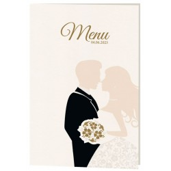 Menu mariage original couple costume robe fleurs Belarto Celebrate Love 725693