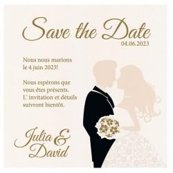 Carte lunch ou remerciements originale couple costume robe fleurs BELARTO Celebrate Love 725893