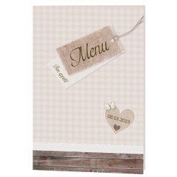 Menu mariage nature chic marron beige vichy bois Belarto Celebrate Love 724632