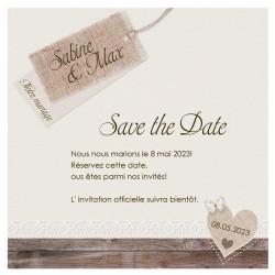 Carte lunch ou remerciements nature chic beige bois dentelle coeur BELARTO Celebrate Love 724532