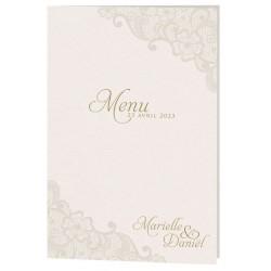 Menu mariage classique crème irisé motif dentelle Belarto Celebrate Love 725648