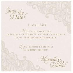 Carte lunch ou remerciements classique chic crème irisé motifs dentelle BELARTO Celebrate Love 725548