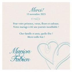 Carte lunch ou remerciements classique crème coeurs bleus BELARTO Celebrate Love 723542
