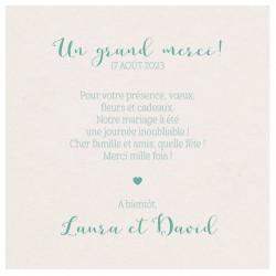 Carte lunch ou remerciements classique couleur crème irisé BELARTO Celebrate Love 7295009
