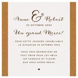 Carte lunch ou remerciements classique crème frises marrons BELARTO Celebrate Love 724536