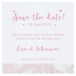 Carte lunch ou remerciements chic blanche frise marbre rose BELARTO Celebrate Love 7295011