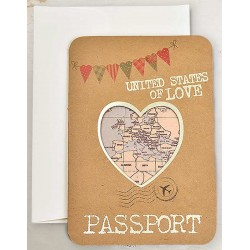 Faire-part mariage original passeport kraft coeur dorure carte old school Cardnovel Claire 2019 39315