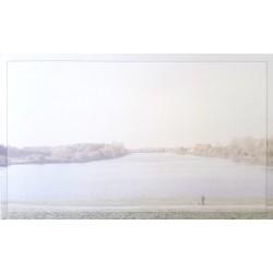 Carte de remerciement décés, deuil, funérailles, condoléances, obsèques paysage lac DECORTE 6418