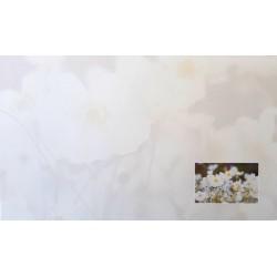 Carte de remerciement décés, deuil, funérailles, condoléances, obsèques fleurs blanche DECORTE 6443