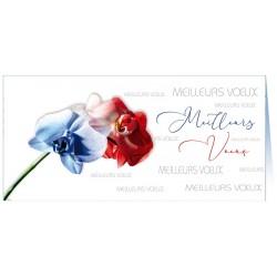 Carte de Voeux fleurs bleues rouges relief vernis Faire Part Select BTB383