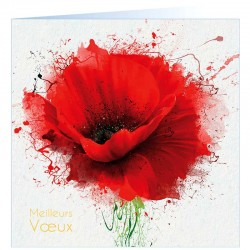 Carte de Voeux nature moderne coquelicot rouge vernis dorure Faire Part Select BTB335