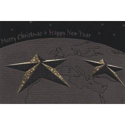 Carte de Voeux élégante noire étoiles dorées Belarto 630058