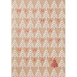 Carte de Voeux classique vintage frises sapins blancs rouges Belarto 630038