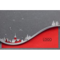 Carte de Voeux élégante grise irisée rouge village enneigé argenture Belarto 630060