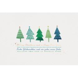 Carte de Voeux classique sapins verts bleus dorure Belarto 630052