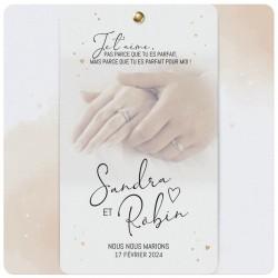 Faire-part mariage original doux mains coeurs dorés BELARTO Collection Mariage 620012