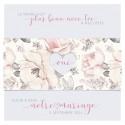 Faire-part mariage classique chic vintage blanc fleurs roses BELARTO Collection Mariage 620026