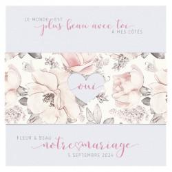 Faire-part mariage classique chic vintage blanc fleurs roses BELARTO Collection Mariage 620026-W