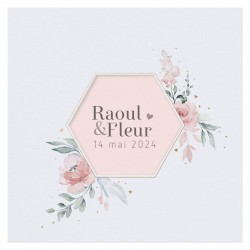 Faire-part mariage classique pochette découpe hexagone fleurs dorure BELARTO Collection Mariage 620002