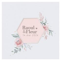 Faire-part mariage classique pochette découpe hexagone fleurs dorure BELARTO Collection Mariage 620002-W