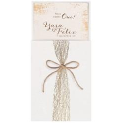 Faire-part mariage nature chic crème dentelle ficelle dorure BELARTO Collection Mariage 620001