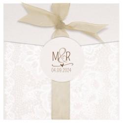 Faire-part mariage classique chic crème pochette ruban BELARTO Collection Mariage 620029-W