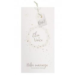 Faire-part mariage nature chic crème pochette papillons dorure BELARTO Collection Mariage 620004