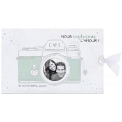 Faire-part mariage original appareil photo blanc vert BELARTO Collection Mariage 620009