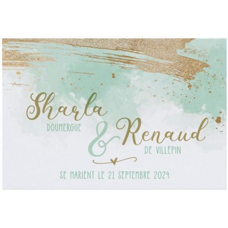 Faire-part mariage moderne blanc irisé vert pâle dorure BELARTO Collection Mariage 2020 620022