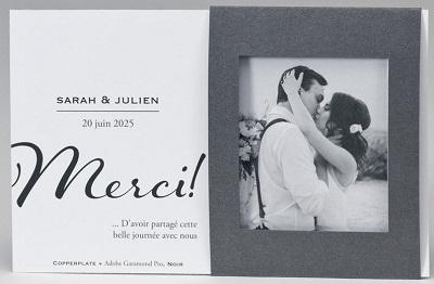 Carte de remerciements mariage chic chevalet Buromac Papillons 2018 128.916