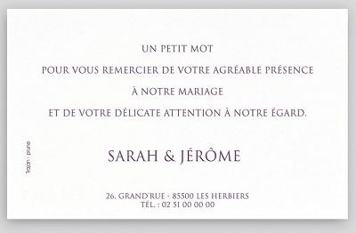 Carte de remerciements mariage crème scintillant Regalb Toi&Moi 2018 KC622
