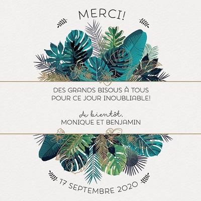 Carte de remerciements mariage élégante feuillage vert bronze Belarto Yes We Do! 728504