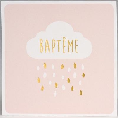 Faire part de bapteme rose nuage pluie dorure 577.327